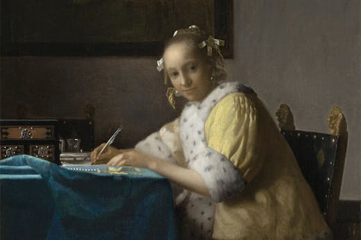 A Lady Writing (detail; c. 1665), Johannes Vermeer. National Gallery of Art, Washington, D.C.
