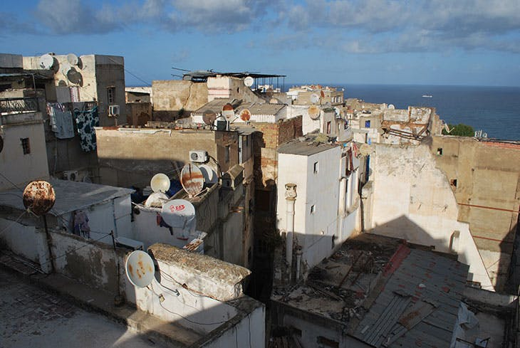 View of houses in the Casbah from the roof of the house of Khaled Mahiout, January 2020. Photo: Layli Faroudi