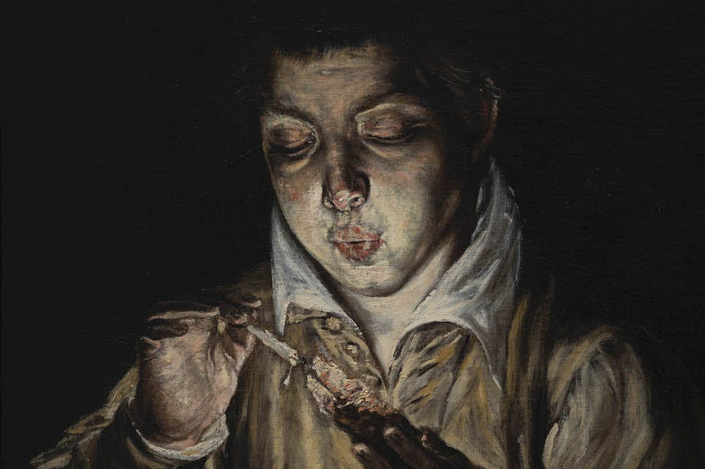 A Boy Blowing on an Ember to Light a Candle (El Soplón) (detail; c. 1570), El Greco.