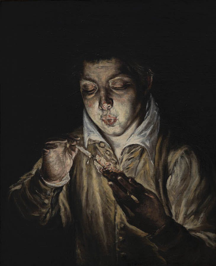 A Boy Blowing on an Ember to Light a Candle (El Soplón) (c. 1570), El Greco.