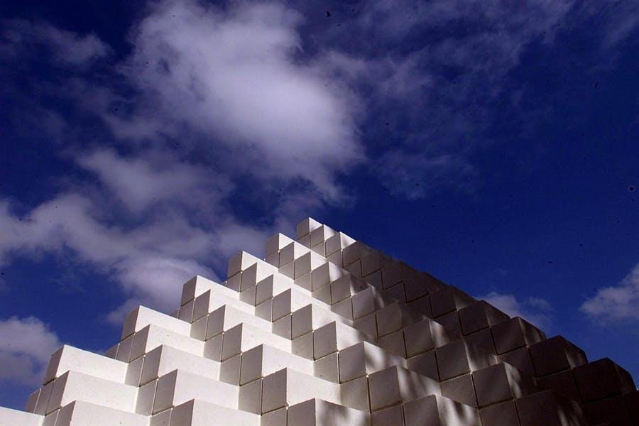 Sol LeWitt's Four-Sided Pyramid in the National Gallery of Art's sculpture garden, photographed in 1999.