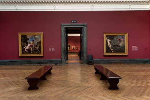 Installation view of 'Titian: Love Desire Death' at the National Gallery, London.