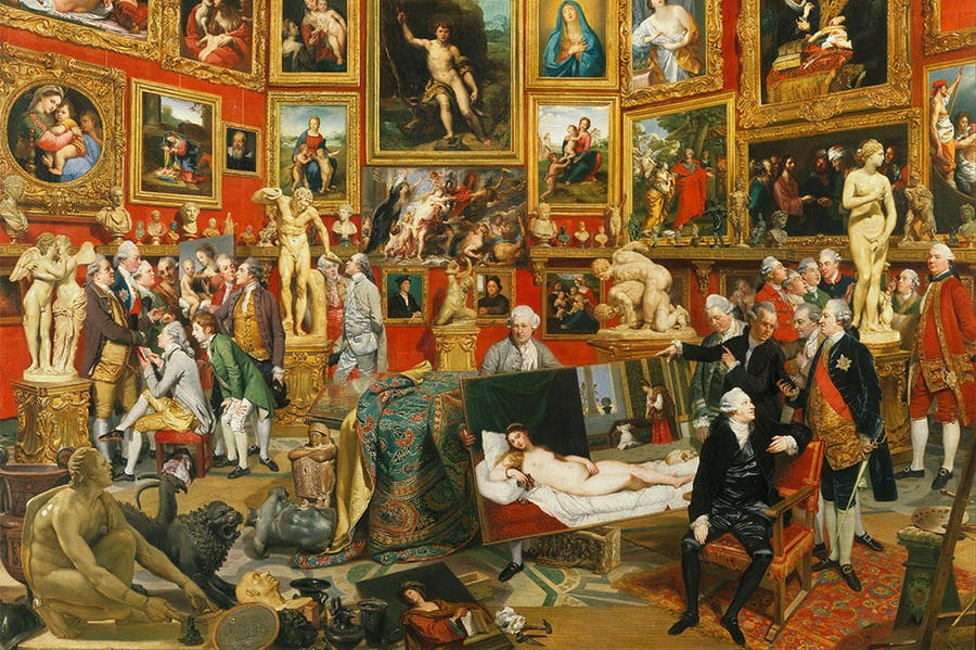 Tribuna of the Uffizi (detail; 1772–77), Johann Zoffany. Royal Collection. Photo: Wikimedia Commons