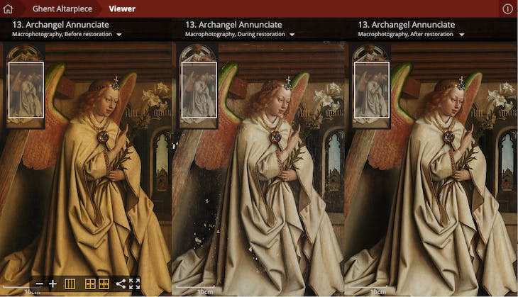 Screenshot from the 'Closer to Van Eyck' website showing the Archangel Annunciate from the Ghent Altarpiece before, during and after restoration