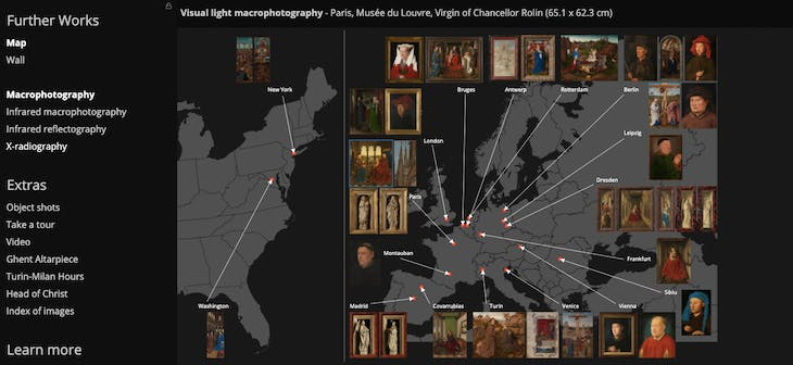 Screenshot from the 'Closer to Van Eyck' website showing the location of all Van Eyck paintings included in the project