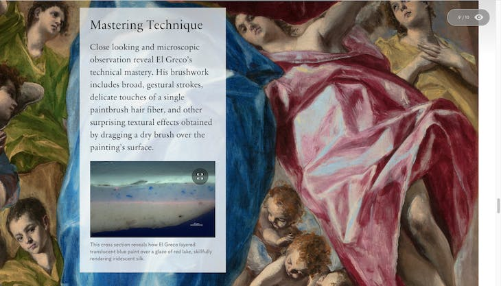 Screenshot from the interactive feature on The Assumption of the Virgin (1577–79), El Greco
