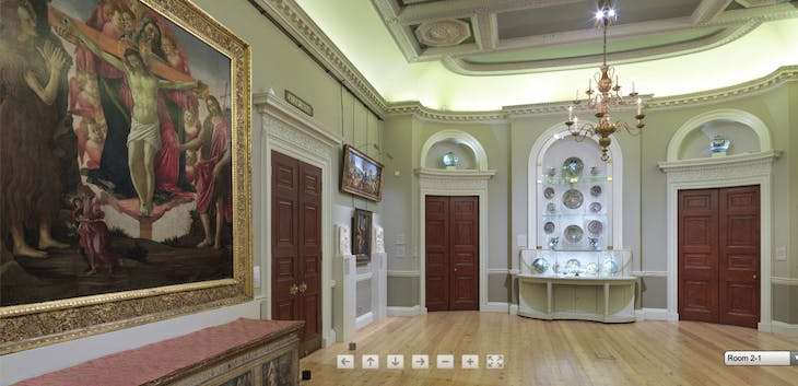 Screenshot showing Room 2 of the Courtauld's virtual tour