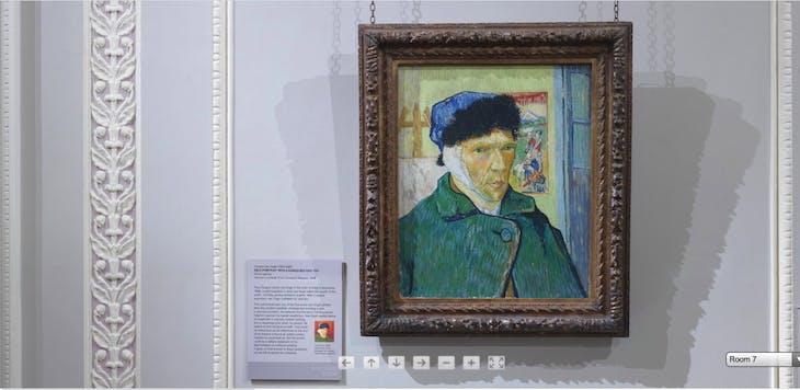 Screenshot showing Vincent Van Gogh's Self-portrait with Bandaged Ear (1889)
