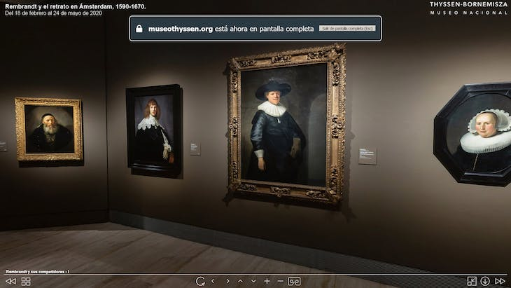 View of room four, 'Rembrandt's Competitors', of the virtual Rembrandt exhibition at the Museo Nacional Thyssen-Bornemisza, Madrid