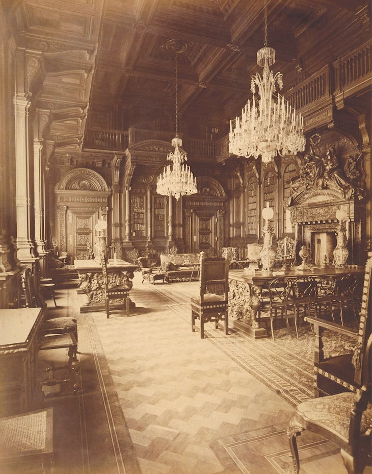 The Polovtsov Palace library decorated with Florentine oak
