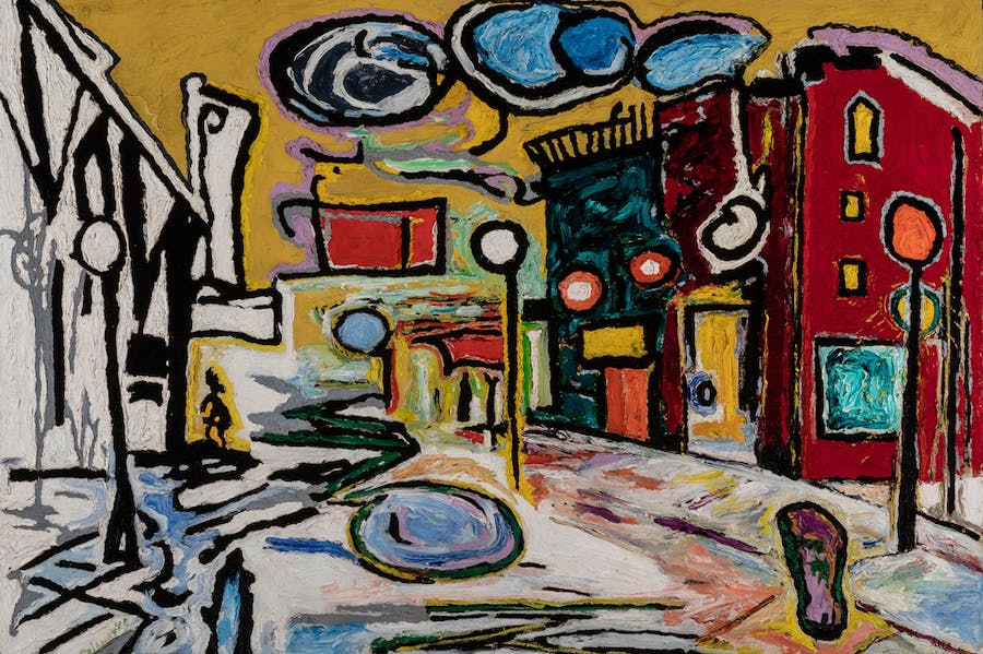 Untitled (Village Street Scene)(1948), Beauford Delaney. Terra Foundation for American Art. © Estate of Beauford Delaney, by permission of Derek L. Spratley, Esquire, Court Appointed Administrator