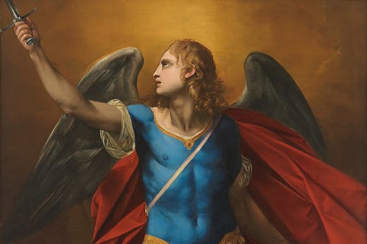 St Michael the Archangel fighting Lucifer (1626–27), Giuseppe Cesari, Cavaliere d'Arpino. Hazlitt, price on application.