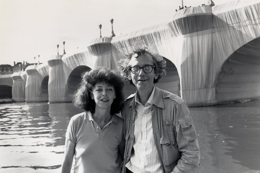 Christo and Jeanne-Claude at The Pont Neuf Wrapped (1975–85) in 1985.