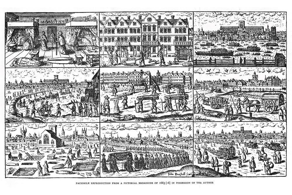 Scenes in London during the plague of 1665. Facsimile reproduction from a pictorial broadside of 1665-66. Wellcome Collection, London.
