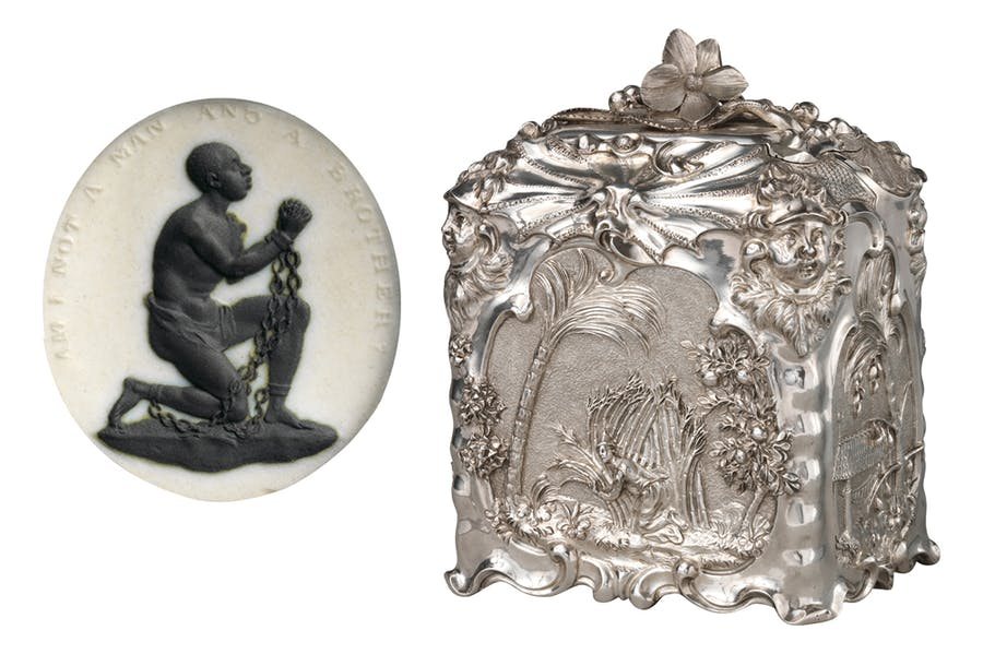 (Left) Anti-slavery medalliion (c. 1787), modelled by William Hackford and manufactured by Josiah Wedgwood. Metropolitan Museum of Art; (right) Sugar box (1744/45), Paul de Lamerie. Metropolitan Museum of Art