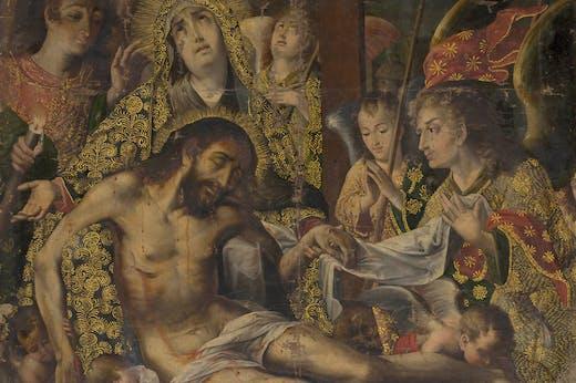 Pietà (detail; c. 1720), Melchor Pérez Holguín.