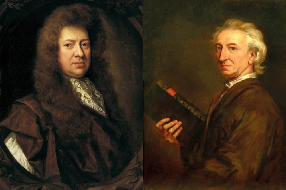 Right: portrait of Samuel Pepys (detail) (1689), Godfrey Kneller, National Maritime Museum, London. Wikimedia Commons (public domain); right: portrait of John Evelyn (detail) (n.d.), studio of Godfrey Kneller. Private collection. Wikimedia Commons (public domain)