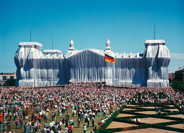 Installation view of Wrapped Reichstag, Berlin (1971–95), Christo and Jeanne-Claude.