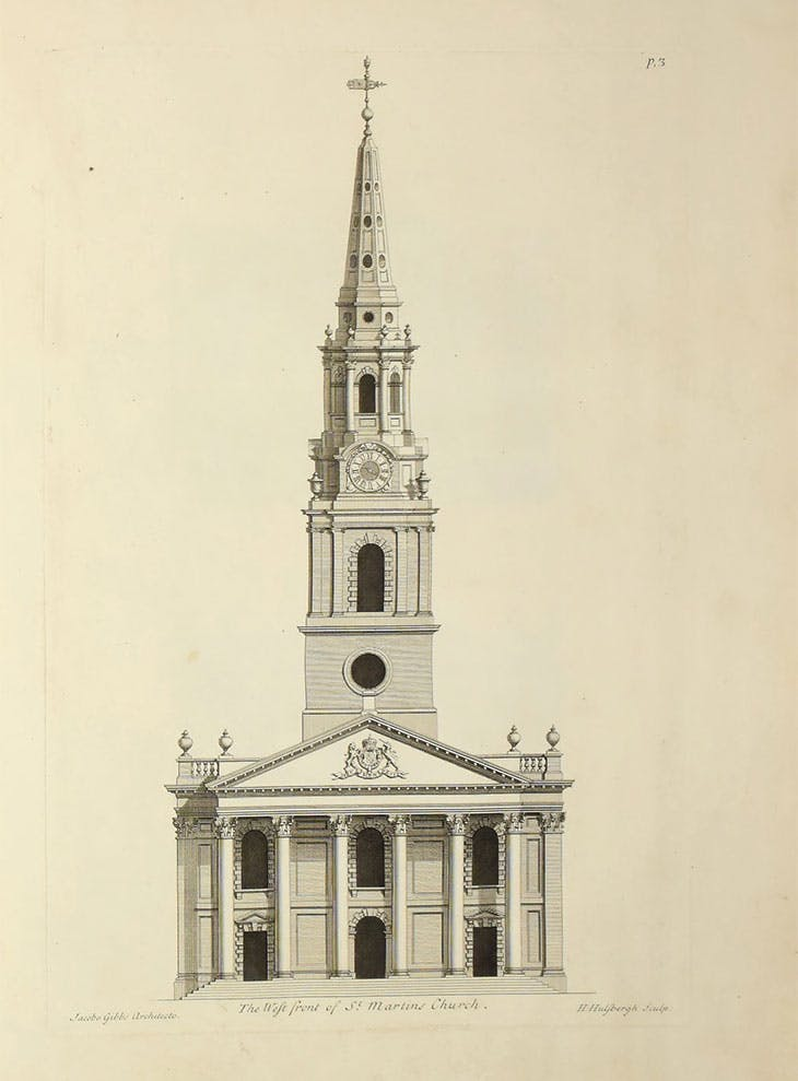 The west front of St Martin-in-the Fields in London, designed by James Gibbs (1682–1754) and published in A Book of Architecture (1728)
