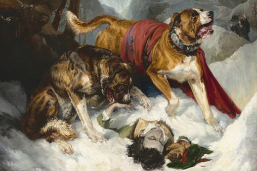 Alpine Mastiffs Reanimating a Distressed Traveler (detail; 1820), Edwin Landseer.