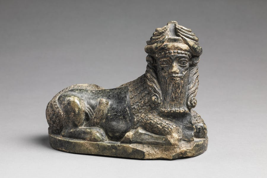Statuette of a Bull with a Human Head (c. 2150–2000 BC), Neo-Sumerian, Mesopotamia.