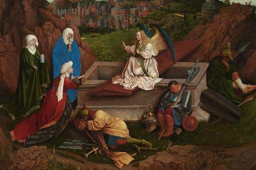 The Three Marys at the Tomb (detail; c. 1410–26), Hubert and Jan van Eyck.