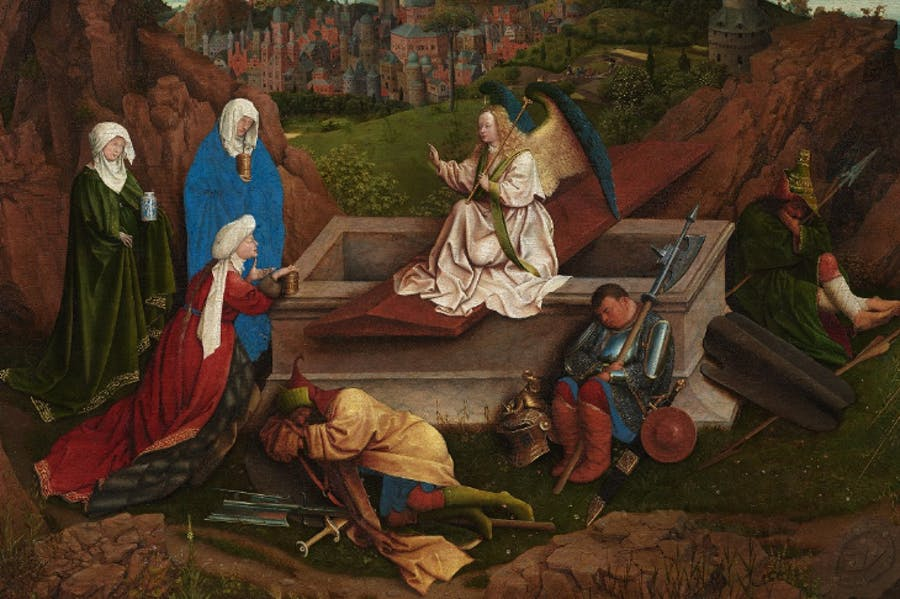 The Three Marys at the Tomb (detail; c. 1410–26), Hubert and Jan van Eyck.