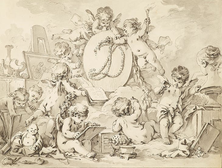 Detail of frontispiece of the Catalogue des Tableaux de Mr Julienne (c. 1756), Jean-Baptiste-François de Montullé. Morgan Library & Museum, New York