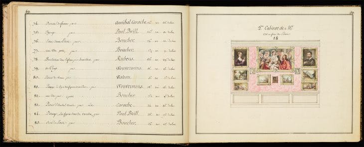 Pages 49–50, showing the 'second cabinet', of the Catalogue des Tableaux de Mr Julienne (c. 1756), compiled by Jean-Baptiste-François de Montullé. Morgan Library and Museum, New York