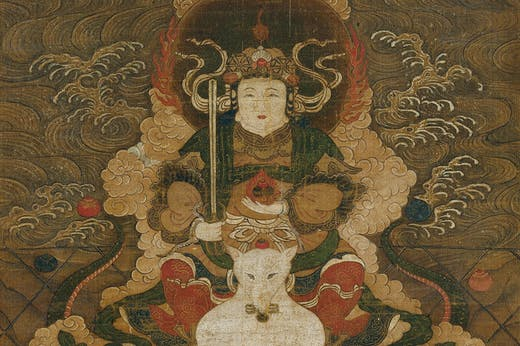 Hanging scroll depicting the goddess Dakini (detail; 14th century), Japan. Metropolitan Museum of Art, New York