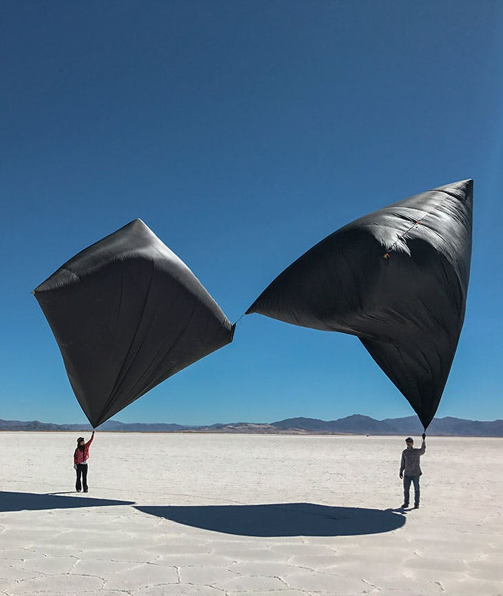 The Aerocene Explorer launch in Salinas Grandes, Jujuy, Argentina, on 7 August 2017.