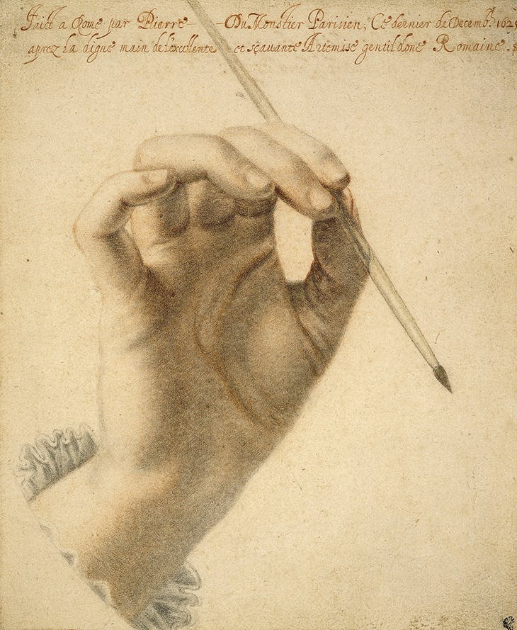 The right hand of Artemisia Gentileschi holding a brush (1625), Pierre Dumonstier II.