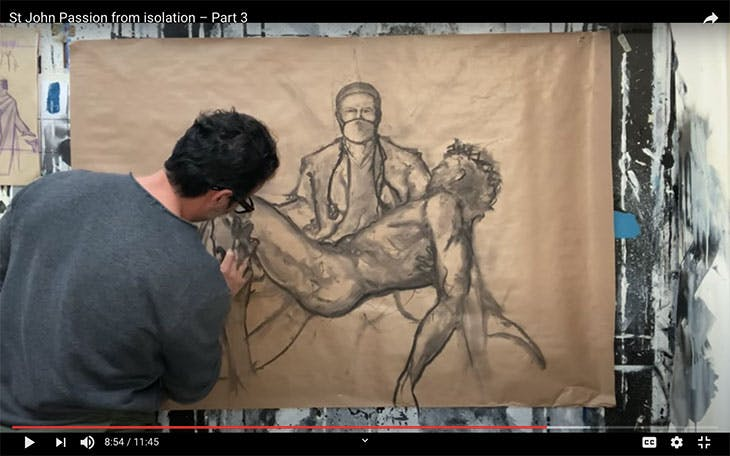Screenshot showing artist Paolo Troilo at work in episode three of the St John Passion from Isolation