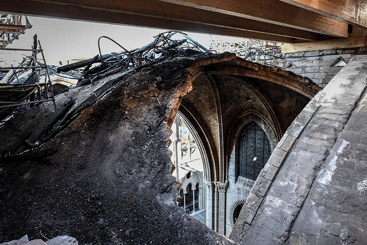 View of part of a destroyed ribbed vault in Notre-Dame during preliminary works in July 2019. Photo: © Stéphane de Sakutin/AFP via Getty Images