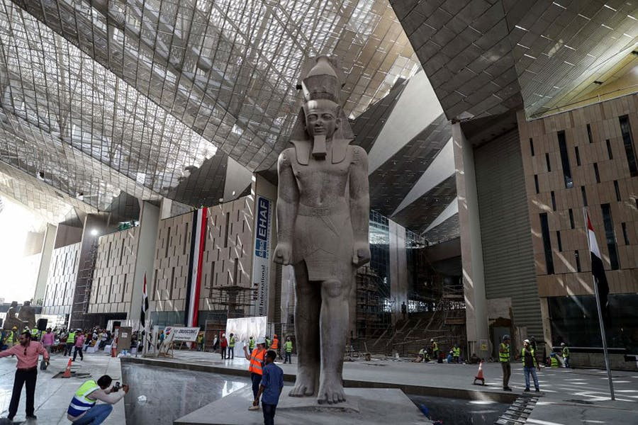 The interior of the Grand Egyptian Museum in Giza photographed during construction in September 2019.