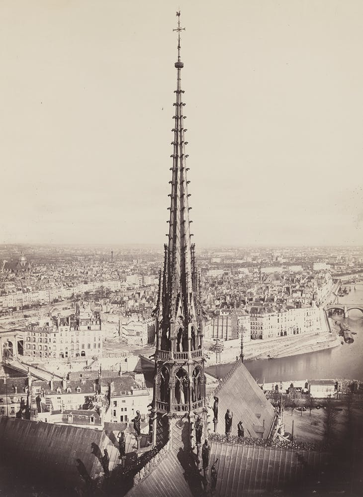View of the spire of Notre-Dame looking towards the Île Saint-Louis and photographed in c. 1860 by Charles Marville. Library of Congress, Washington, D.C.
