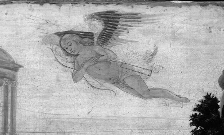 Detail showing the flying Cupid in the Infrared reflectogram Infrared reflectogram of Jacopo del Sellaio's Story of Cupid and Psyche at the Fitzwilliam Museum, Cambridge