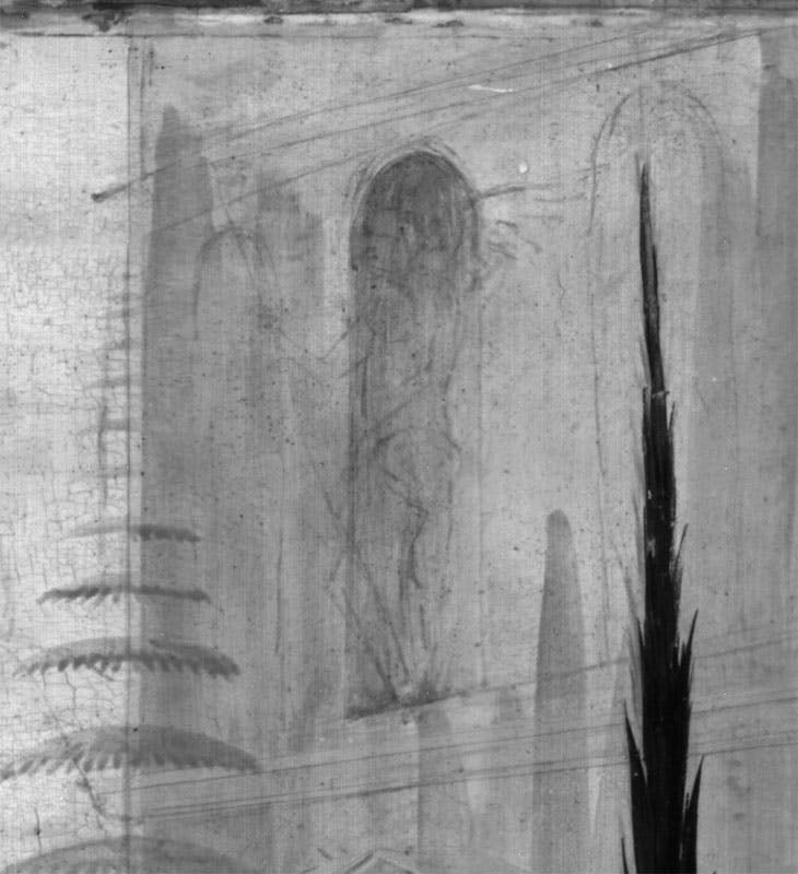Detail showing the facade of Cupid's palace in the Infrared reflectogram of Jacopo del Sellaio's Story of Cupid and Psyche at the Fitzwilliam Museum, Cambridge