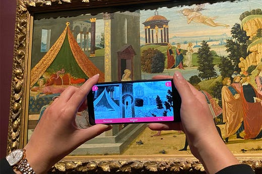 'Ways of Seeing' app in use before Jacopo del Sellaio's painting in the Octagon Gallery at the Fitzwilliam Museum, Cambridge