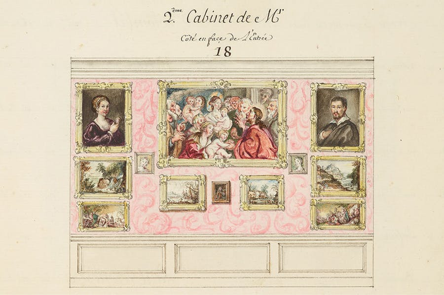 Detail showing the 'second cabinet' on page 50 of the Catalogue des Tableaux de Mr Julienne (c. 1756), compiled by Jean-Baptiste-François de Montullé. Morgan Library and Museum, New York