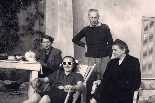 Detail of photograph of (left to right) Sophie Taeuber-Arp, Sonia Delaunay, and Jean (Hans) Arp in Grasse in 1942.