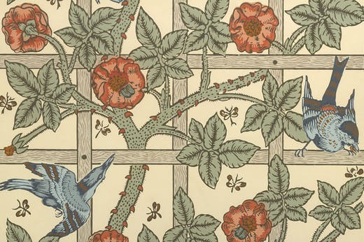 Wallpaper design, 'Trellis' (detail; designed 1862, first produced 1864), William Morris. Metropolitan Museum of Art, New York