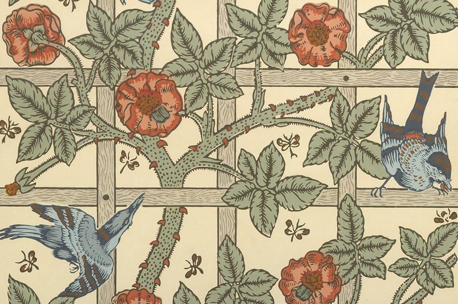 Wallpaper design, 'Trellis' (detail; designed 1862, first produced 1864), William Morris. Metropolitan Museum of Art, New York