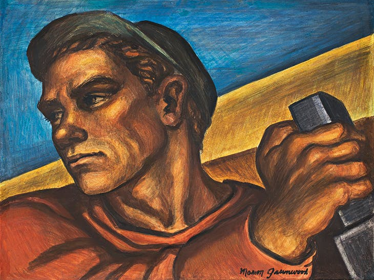 Construction Worker (study for Blueprint for Living, a Federal Art Project mural, Red Hook Community Building, Brooklyn, NY) (1940), Marion Greenwood. Frances Lehman Loeb Art Center, Vassar College, Poughkeepsie.