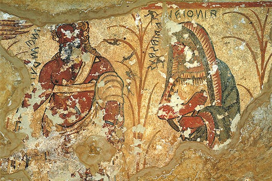 Nekyia scene (detail of the ghosts of Agamemnon and Tiresias), 325–300 BC, Tomb of Orcus II, Tarquinia.