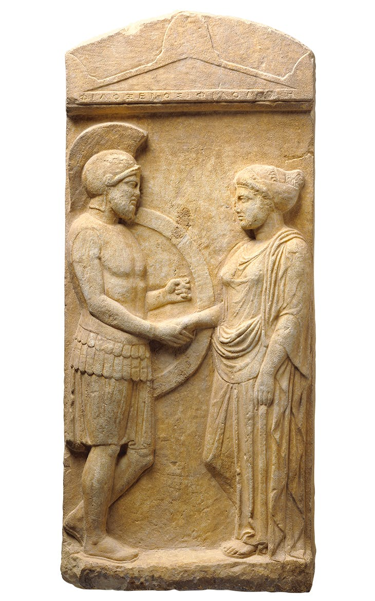 Grave stele of Philoxenos with his wife Philoumene (c. 400 BC), Athens. Photo: J. Paul Getty Museum, Villa Collection, Malibu, California.