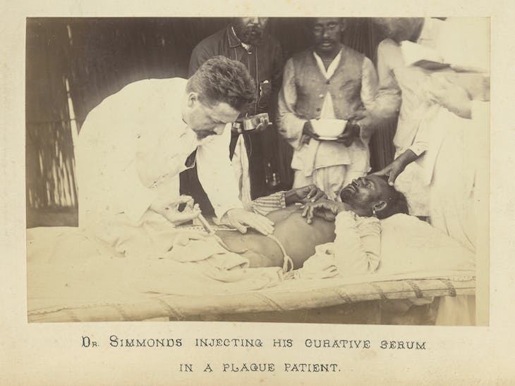 Paul-Louis Simond injecting his curative serum in a plague patient (1897), unknown artist.