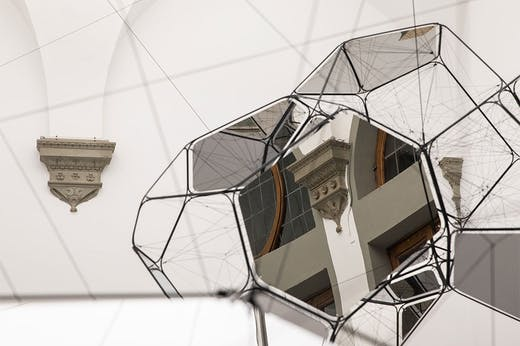 Installation view of 'Tomás Saraceno: Aria' at Palazzo Strozzi, Florence.