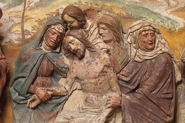 Renaissance terracottas in Padua Central relief of The Lamentation over the Dead Christ (c. 1480–90), circle of Bartolomeo Bellano. Chiesa di San Pietro, Padua