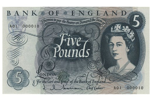£5 banknote, designed by Reynolds Stone in 1963